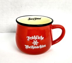Frohliche Weinachten Collectible Mug House of Gerhard Kenosha Small Cup Red - $14.84