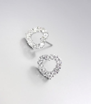 Shimmery 18kt White Gold Plated Cz Crystals Dainty Petite Heart Post Earrings - $12.99