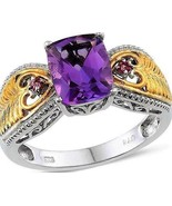 Amethyst and Pink Tourmaline Heart  Ring natural stones Size 9 - $128.58