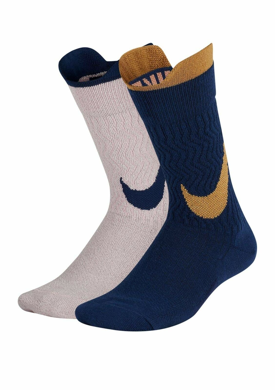 Primary image for NIke Girl`s 2PK Swoosh Crew Socks Blue/Pink Small 3Y-5Y SX7311-938