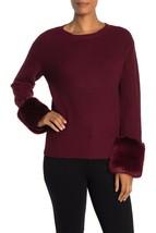 Love Token Womens Faux Fur Cuff Knit Pullover Sweater Size Medium Burgun... - $29.69