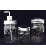 Vtg Kerr Mason Jar Bathroom 3 Pcs Soap Dispenser Toothbrush Top Half Pin... - $37.56