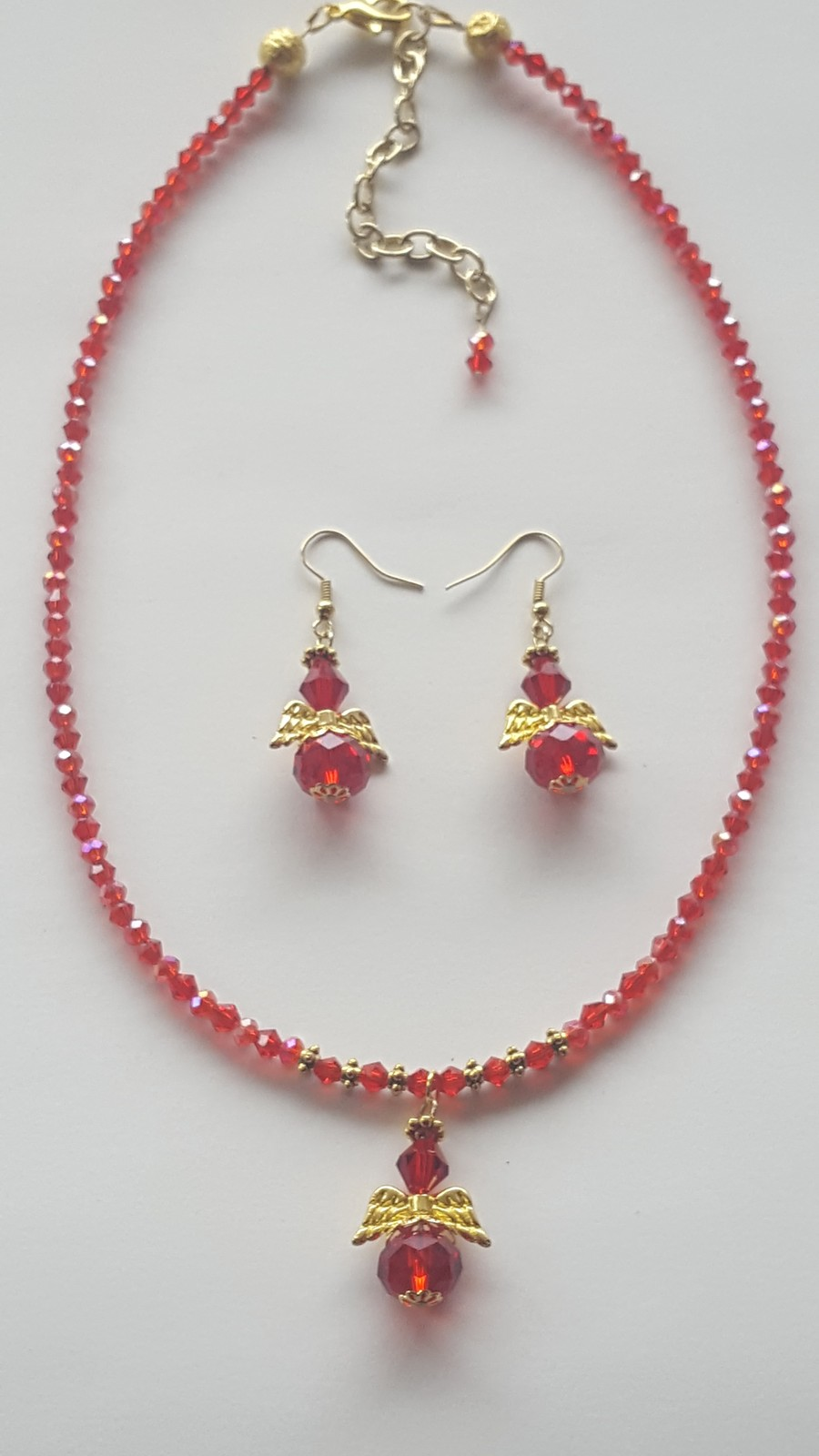 NEW Handmade Czech Red Glass, & Crystal Beaded Angel Necklace with Earrings