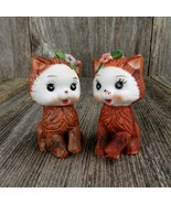 Vintage Kitten Cat Kitty Salt Pepper Shakers Bisque Ceramic Brown Flower - $38.60