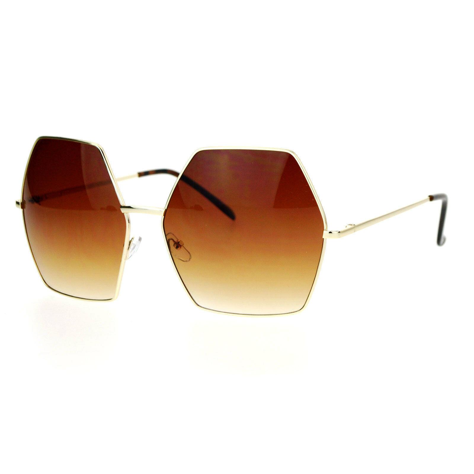 Womens Super Oversized Fashion Sunglasses Hexagon Shape Metal Frame