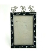 Dog Puppy Silver Metal Pewter Black Enamel Picture Frame 4x6 Photo Eat Play - $12.19