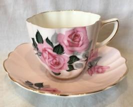 Old Royal Bone China England Pink Roses Design Teacup and Saucer - $15.99