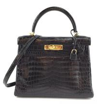 #33049 Hermès Kelly 28cm Retourne Niloticus kelly Crocodile Skin Shoulder Bag - $35,000.00