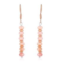 Pink Ethiopian Opal 925 Sterling Silver Rose Gold Plated Drop Dangle Earrings. - $20.99
