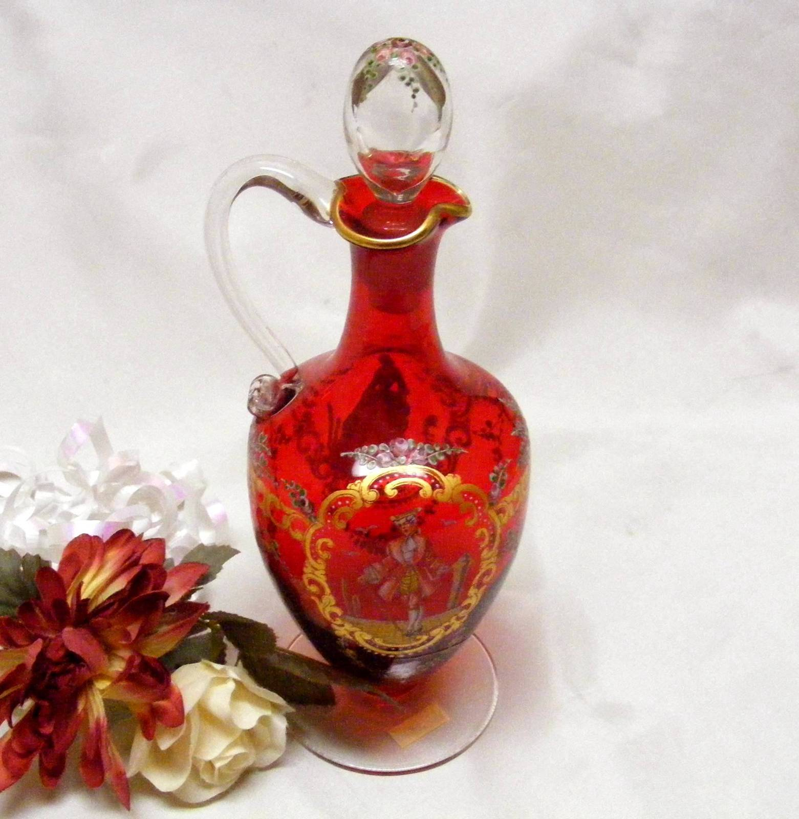 Primary image for 2715 Victorian Art Glass Hand Painted Gold and Ruby Red Cruet With Stopper