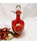 2715 Victorian Art Glass Hand Painted Gold and Ruby Red Cruet With Stopper - £69.74 GBP
