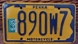 Vintage 1985 Pennsylvania Motorcycle  License Plate 890W7 - $23.13