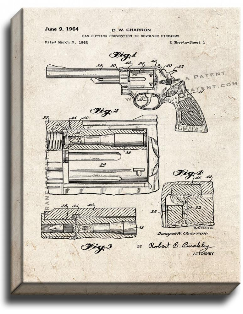 Primary image for Gas Cutting Prevention In Revolver Firearms Patent Print Old Look on Canvas