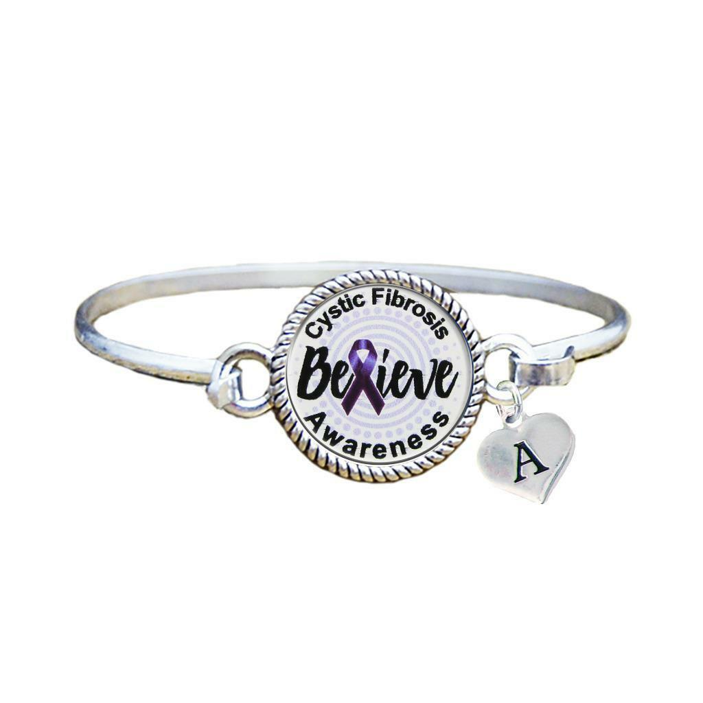 Primary image for Custom Cystic Fibrosis Awareness Believe Silver Bracelet Jewelry Choose Initial