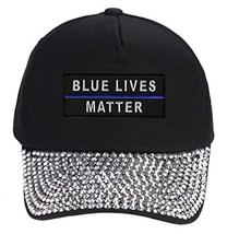 Blue Lives Matter Hat - Rhinestone Black Adjustable Womens - Police Officer Cop  - $17.05