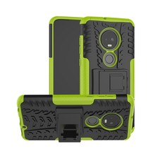 Tire Texture TPU+PC Shockproof Case for Motorola G7, with Holder (Green) - $4.77