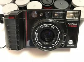 Minolta AF-Tele Dual Auto-Focus 38-60mm 35mm Film Camera  w/8 Rolls of Film - $49.39