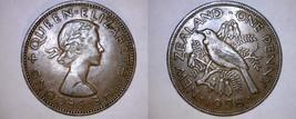 1958 New Zealand 1 Penny World Coin - Tui Bird - $8.99