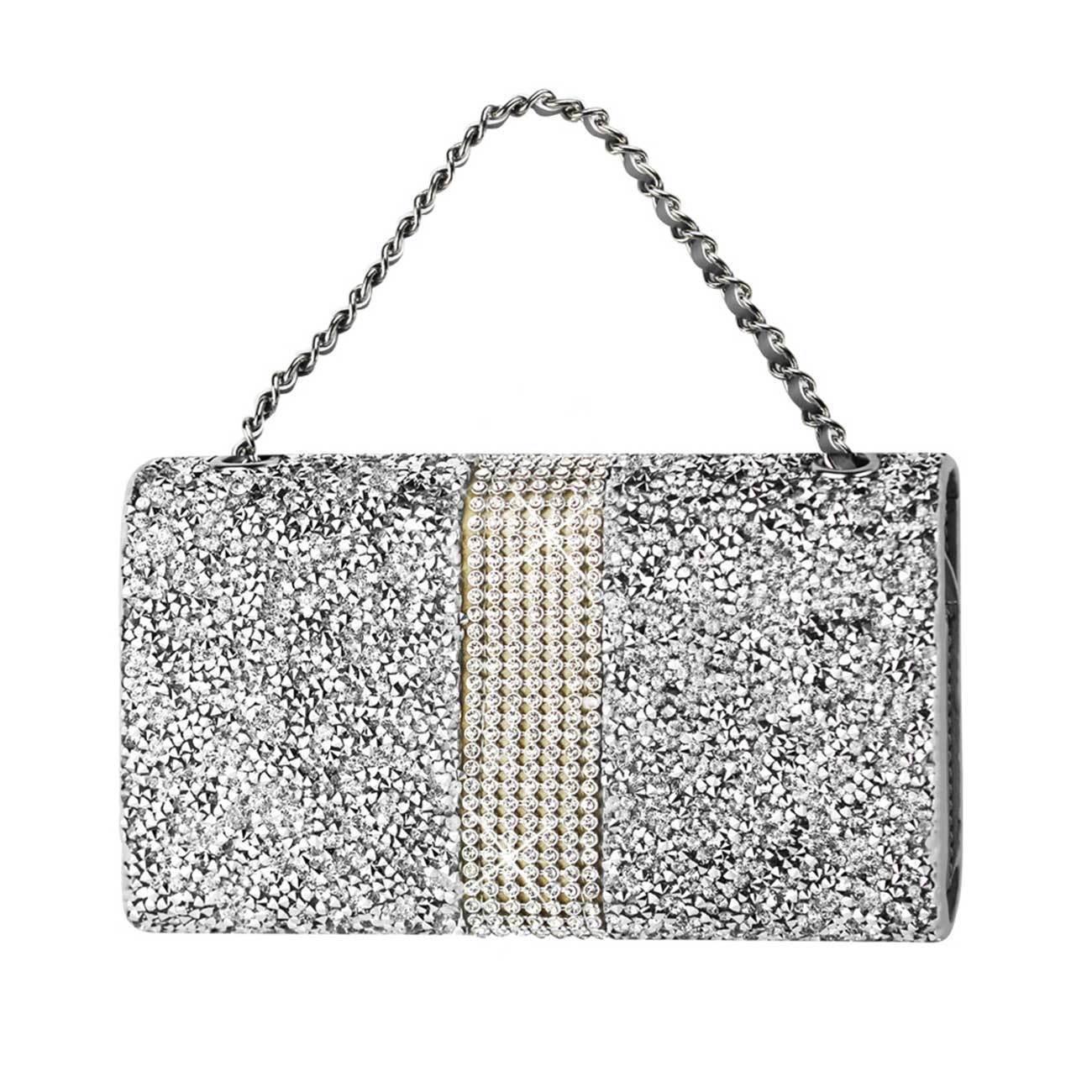 Diamond Bling Credit Card Silver Wallet fits LG Aristo 2
