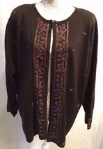 LANE BRYANT Designs Collection Brown Sequin Open Front Sweater Cardigan ... - $24.99