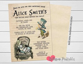 Alice in Wonderland Baby Shower Invitation, Library Card Book Baby Showe... - $9.99+