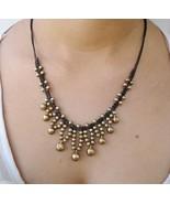 Brass Jingle Bell Bead Wax Cotton Pendant Choker Summer NECKLACE Asian J... - $8.43