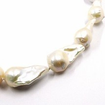 Necklace Yellow Gold 18K, Pearls Drop Large, White, Freshwater, Baroque Style image 2