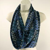 Notations Womens Ikat Print Infinity Scarf Black White Blue Periwinkle EUC - $8.69