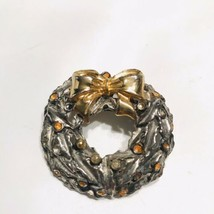 """Vintage Brooch Sliver And GOLDTONE 2"""" Christmas Wreath Jewelry Pin Brooc... - $9.49"""