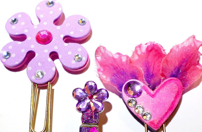 Heart And Flowers Bookmarks, Clothespin Clip Organizer, Paperclip Bookmarkers