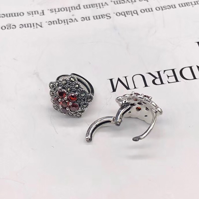 BALMORA 100% Real 925 Sterling Silver Red Garnet Clip Earrings for Women Fashion