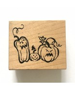 PSX Jack-O-Lantern Trio Rubber Stamp E-3037 Halloween Pumpkins Fall Autumn Wood - $5.94