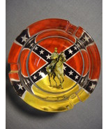 "CONFEDERATE FLAG WITH ROBERT E LEE DESIGN  3"" GLASS ASHTRAY NEW - $5.74"