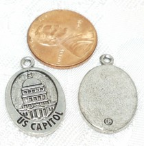 US CAPITOL FINE PEWTER PENDANT CHARM 15mm L x 24mm W x 2mm D image 2