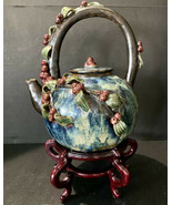 Vintage Majolica Red Berry Teapot Glazed Earthenware Art Pottery Leaf Vi... - $60.78
