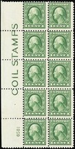 "424, Mint FVF OG LH ""Coil Stamps"" Plate Block of 10 Stamps Cat $175  Stu... - $120.00"