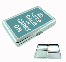 Cigarette Case Keep Calm and Carry On Gray Background - $9.29