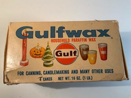 VINTAGE GULFWAX HOUSEHOLD PARAFIN WAX FOR CANNING CANDLEMAKING - $10.99