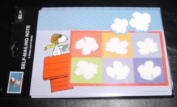 Peanuts Snoopy USPS Flying Ace Stamp self mailing notes