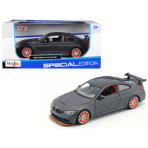 BMW M4 GTS Gray with Carbon Top and Orange Wheels 1/24 Diecast Model Car... - $26.34