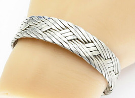 MEXICO 925 Sterling Silver - Vintage Basket Weave Designed Cuff Bracelet... - $111.44