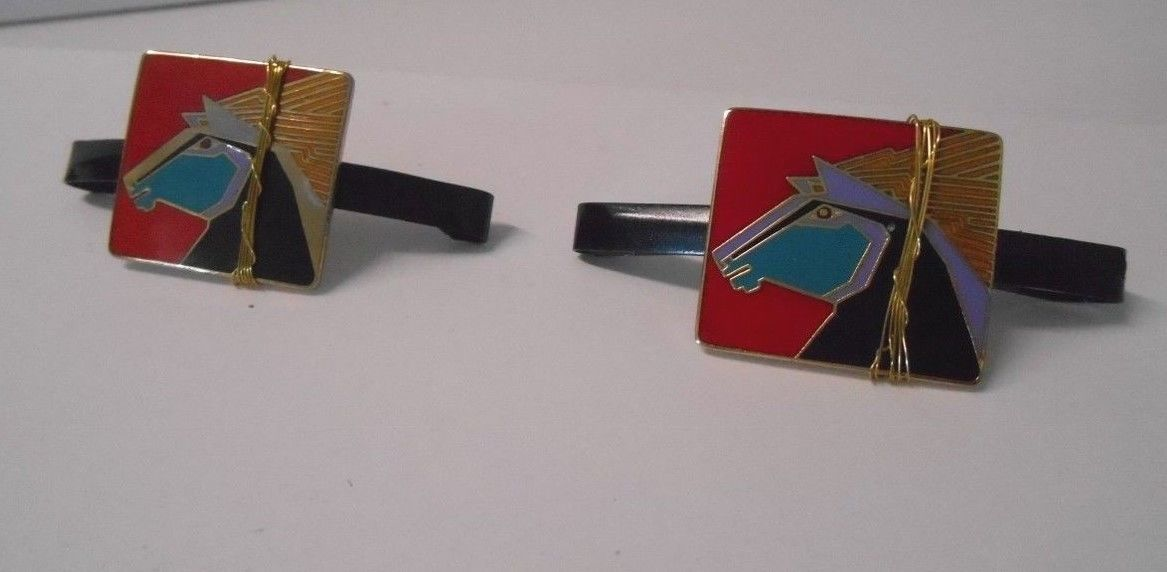 "Set of (2) Upcycled Signed Laurel Burch ""Wild Stallion"" Charms on 2"" Barrettes"