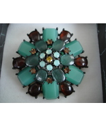Joan Rivers Large 3D Brooch Gunmetal, Turquoise Cabachons, Amber, CZ - $59.99