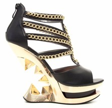 Sexy Hades NIKA Black Peep Toe Strappy Shoes Gold Chains Iceberg Wedge H... - $156.00