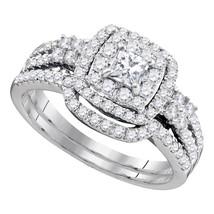 14k White Gold Princess Diamond Bridal Wedding Engagement Ring Band Set 1 Cttw - $1,659.00