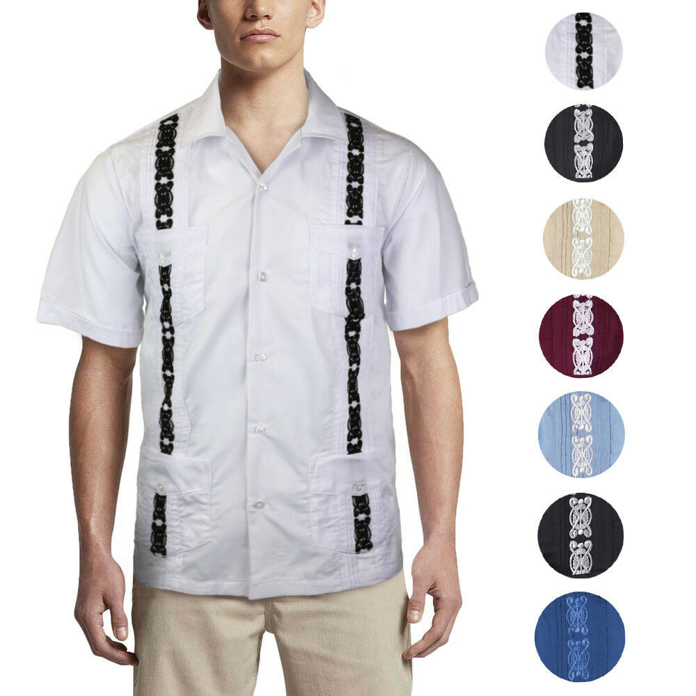 Men's Cuban Beach Wedding Guayabera Short Sleeve Two Tone Button-Up Dress Shirt
