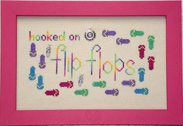 Hooked On Flip Flops charms + cross stitch chart Handblessings - $9.00