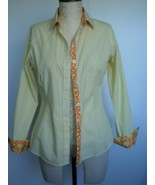 C WONDER by TORY BURCH yellow XS striped Flip-out button up collar long ... - $15.76