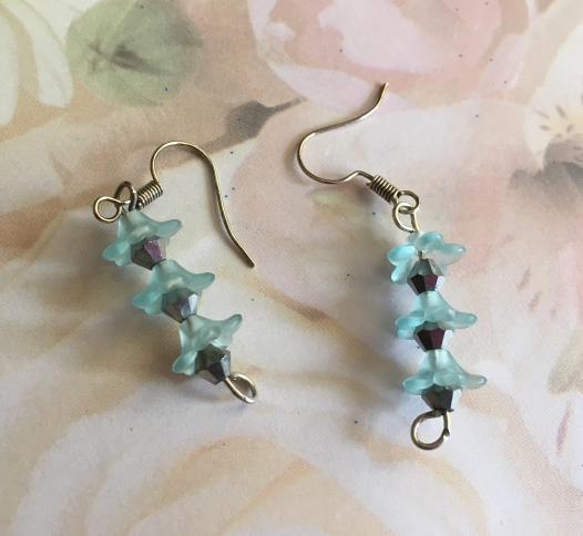 Blue Beaded Flower Dangle Hook Earrings, Drop Earrings, Gift Idea, Gift 4 Her