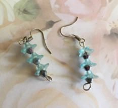 Blue Beaded Flower Dangle Hook Earrings, Drop Earrings, Gift Idea, Gift ... - $19.95